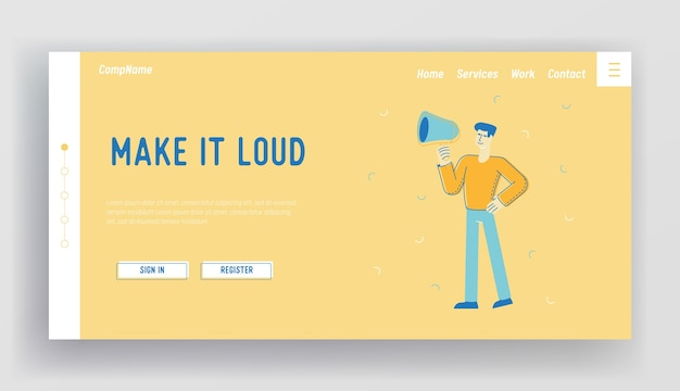 Online public relations, affairs landing page template