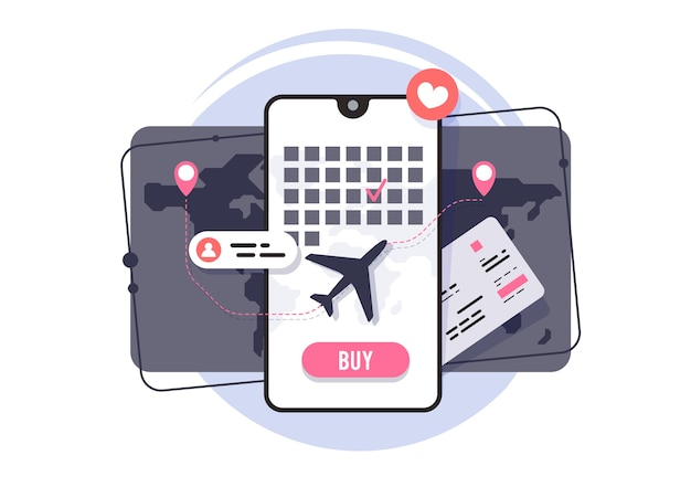 Online purchase of air tickets. application for booking plane tickets. flight schedule.