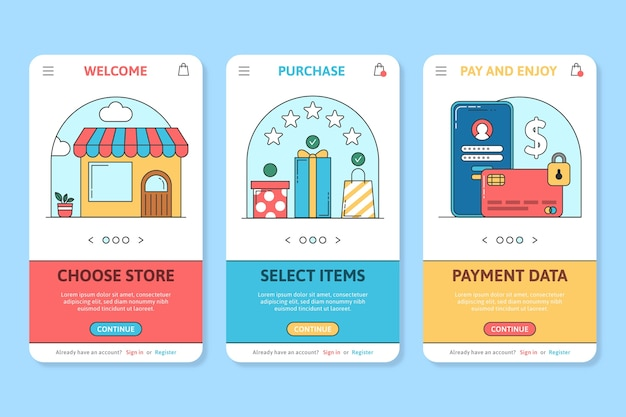 Online purchase onboarding app screens
