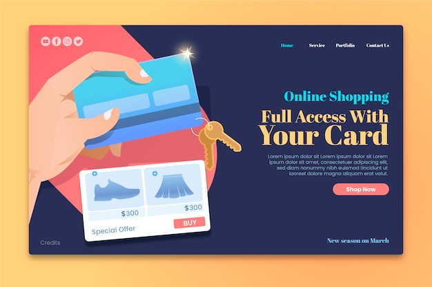 Online purchasing landing page template with credit cards
