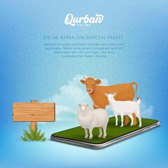 Концепция мобильного приложения онлайн qurban. иллюстрация смартфона с жертвенным животным для ид аль адха