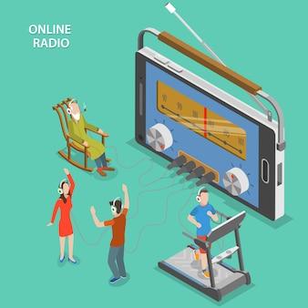 Online radio isometric flat vector concept.