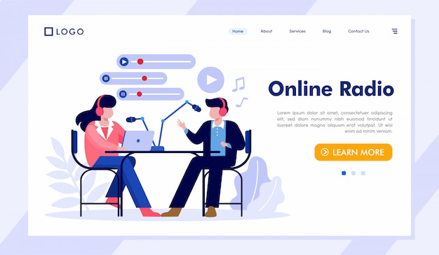 Online radio landing page website illustration