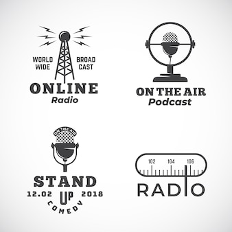 Online radio and microphone abstract emblems set with broadcast tower, microphone signs or logo templates Premium Vector