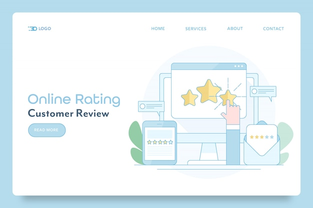 Online rating by customer conceptual banner