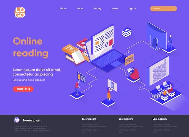 Онлайн-чтение 3d изометрической целевой страницы иллюстрации с персонажами людей