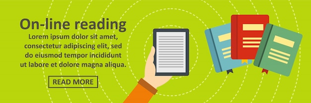 Online reading banner template horizontal concept