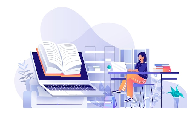Online reading flat design concept illustration of people characters