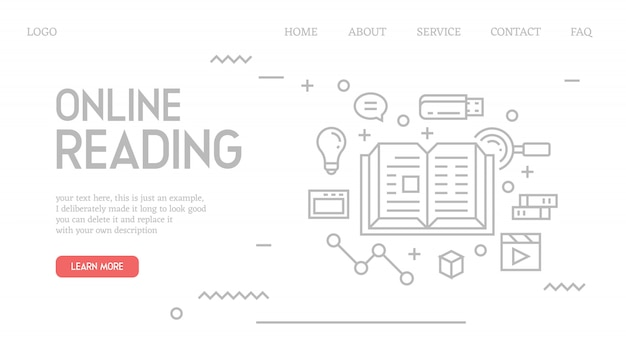 Online reading landing page in doodle style