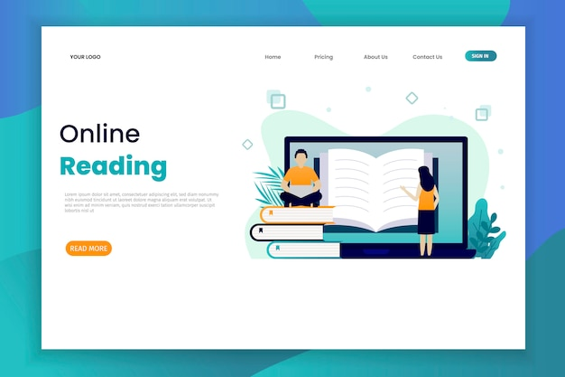 Online reading landing page template with character