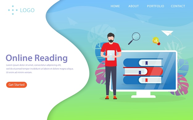 Online reading, landing page