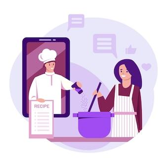Интернет-рецепт. девушка готовит дома, глядя на мастер-класс профессионального повара. векторная иллюстрация в плоском стиле.