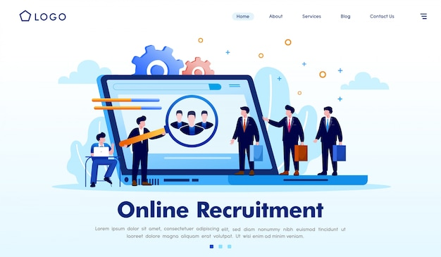 Online recritment landing page website illustration vector