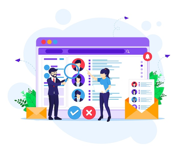 Online recruitment concept, people searching candidate for a new employee and hiring concept illustration