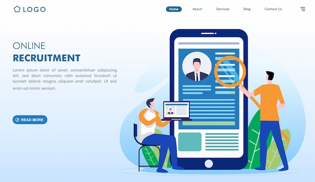 Online recruitment landing page in flat style