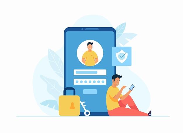 オンライン登録とサインアップの概念フラットベクトルイラスト。巨大なスマートフォンの横に座って、ソーシャルメディアアプリのアカウントにログインする若い男性の漫画のキャラクター。ユーザーインターフェース。安全なログイン