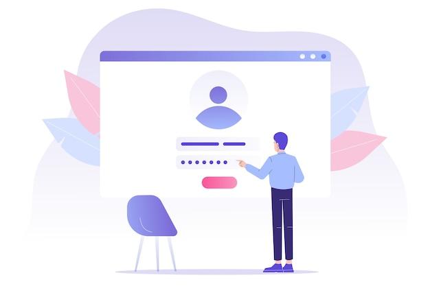 オンライン登録とユーザーインターフェースの近くに立っている男性とのサインアップ
