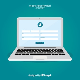 Online registration concept with flat design
