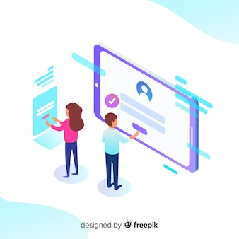 Online registration concept with isometric view