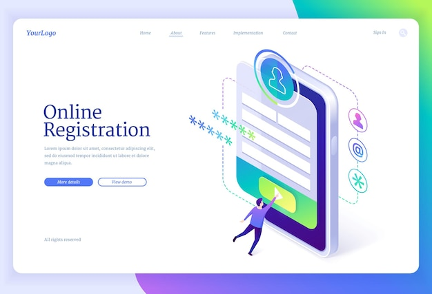 Online registration isometric landing page
