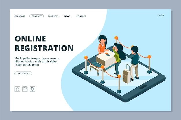 Целевая страница онлайн-регистрации. изометрическая стойка регистрации, пассажиры с багажом. концепция онлайн-услуг аэропорта. иллюстрация электронного онлайн-чека для путешествия