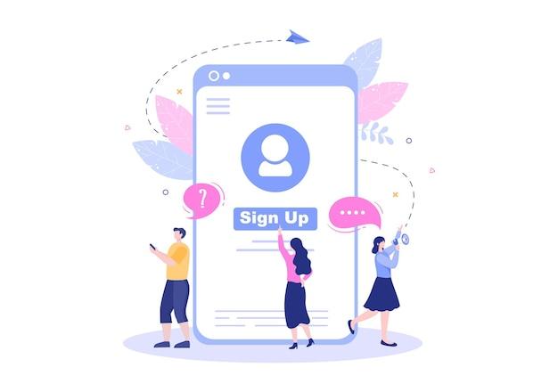 Онлайн-регистрация или регистрация войдите в учетную запись в приложении для смартфона. пользовательский интерфейс с мобильным приложением secure password для пользовательского интерфейса, веб-баннера, доступа. мультфильм люди векторные иллюстрации