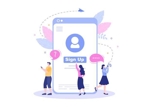 Online registration or sign up login for account on smartphone app. user interface with secure password mobile application, for ui, web banner, access. cartoon people vector illustration