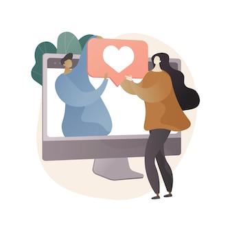 온라인 관계 추상적 인 개념 그림
