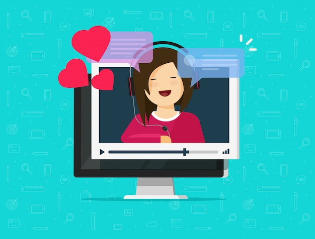 Online remote dating on computer video communication app illustration