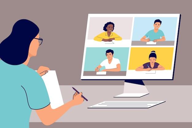 온라인 원격 학습. 컴퓨터와 교사. 삽화.