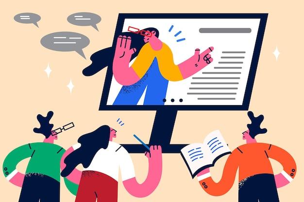 オンラインリモートビデオ会議とeラーニングの概念。リモートビデオ会議または教育レッスンのベクトル図を持っているビジネスマンまたは教師と学生のグループ