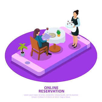 Online reservation isometric composition waiter during customer service at mobile device screen white purple