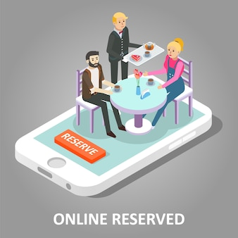 Online reserved table vector illustration