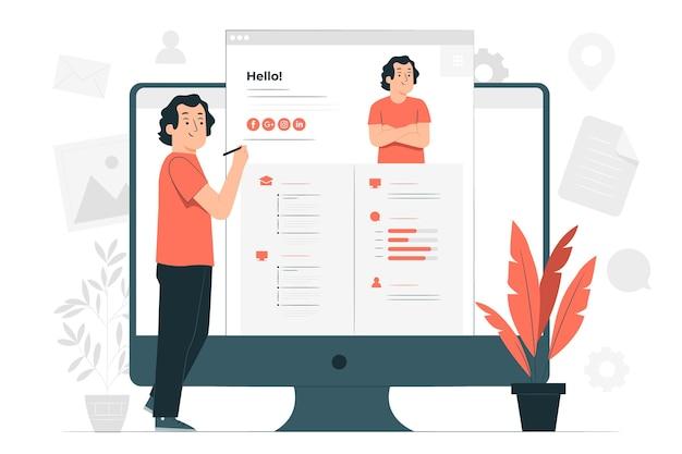 Online resume concept illustration