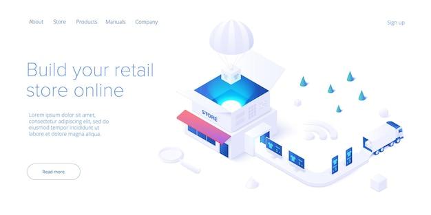아이소메트릭 상점 배달 서비스 및 트럭 물류 개념의 온라인 소매점 운송