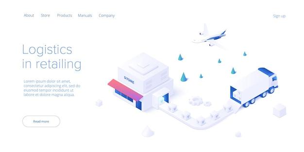 아이소메트릭 벡터 디자인의 온라인 소매점 운송입니다. 쇼핑 배달 서비스 및 트럭 물류 개념입니다. 시장 공급망 및 선적. 웹 배너 레이아웃 템플릿입니다.