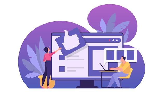 オンラインレビューの概念。人々はフィードバック、良いコメント、悪いコメントを残します。調査と評価のアイデア。漫画のスタイルのイラスト