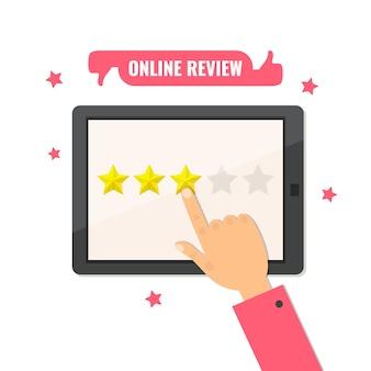 Онлайн обзор. звездный рейтинг. концепция обратной связи. оценка рейтинга