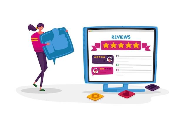 온라인 리뷰, 사용자 경험, 순위 평가 및 평가 개념.
