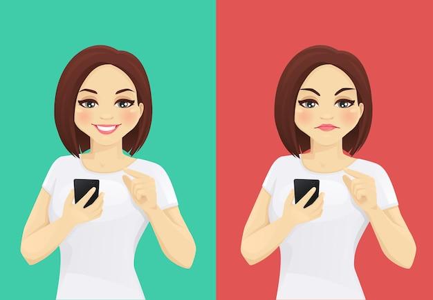 온라인 검토. 스마트 폰을 들고 좋아하고 싫어하는 감정으로 화면을 터치하는 여자