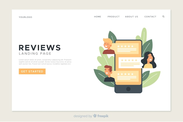 Online reviews landing page template