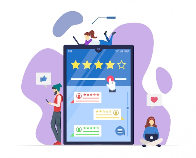 オンラインレビューは、セミrgbカラーイラストです。ユーザー体験。顧客満足。消費者のフィードバック。肯定的、否定的なコメント。品質評価。白の孤立した漫画のキャラクター