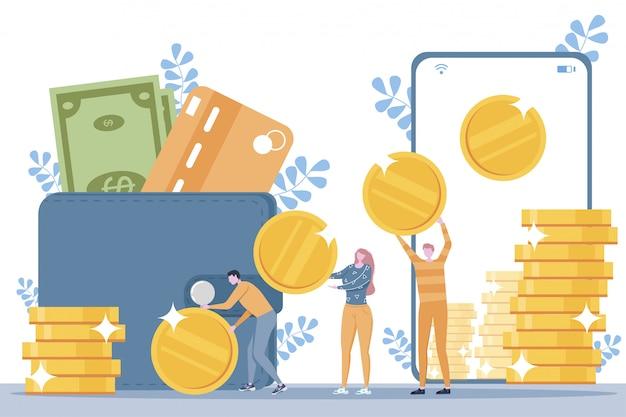 온라인 보상 개념. 행복한 사람들은 스마트 폰 화면에서 돈을받습니다.