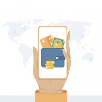 オンライン報酬の概念。スマートフォンの画面からお金を受け取ります。