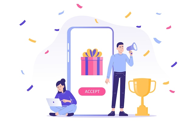 Online reward concept with people receive a gift box from smartphone app