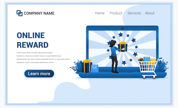 Online reward concept with a woman get a bonus gift from customer loyalty programs.