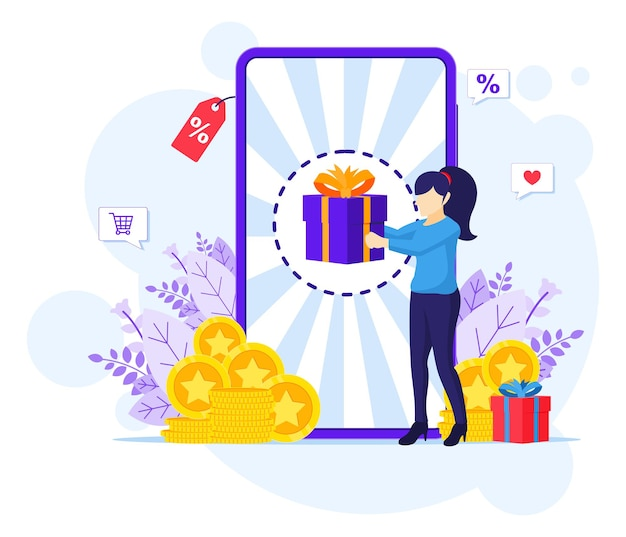 Online reward concept, a woman receive a gift box from an online loyalty program and bonus flat illustration