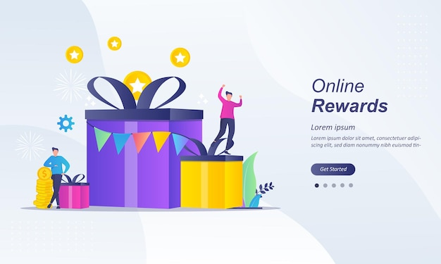 Online rewards concept, earn point