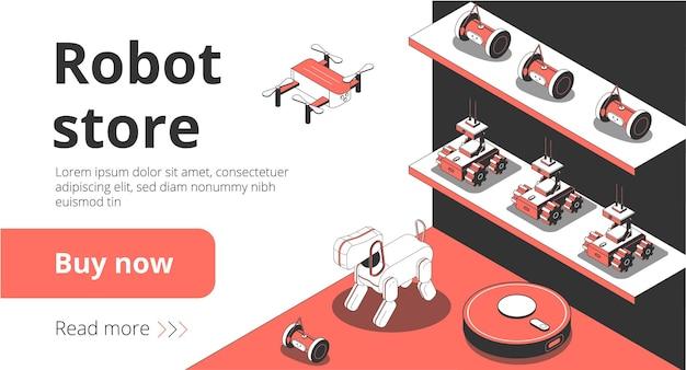 Pagina di destinazione isometrica del negozio di robot online con dispositivi domestici per la pulizia intelligente
