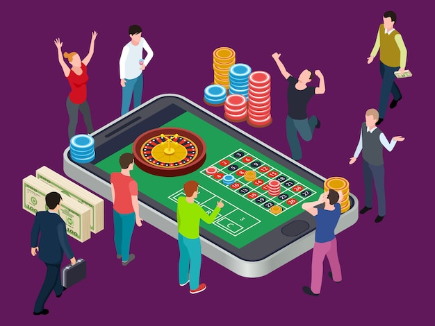 Online roulette table and people. casino isometric  concept